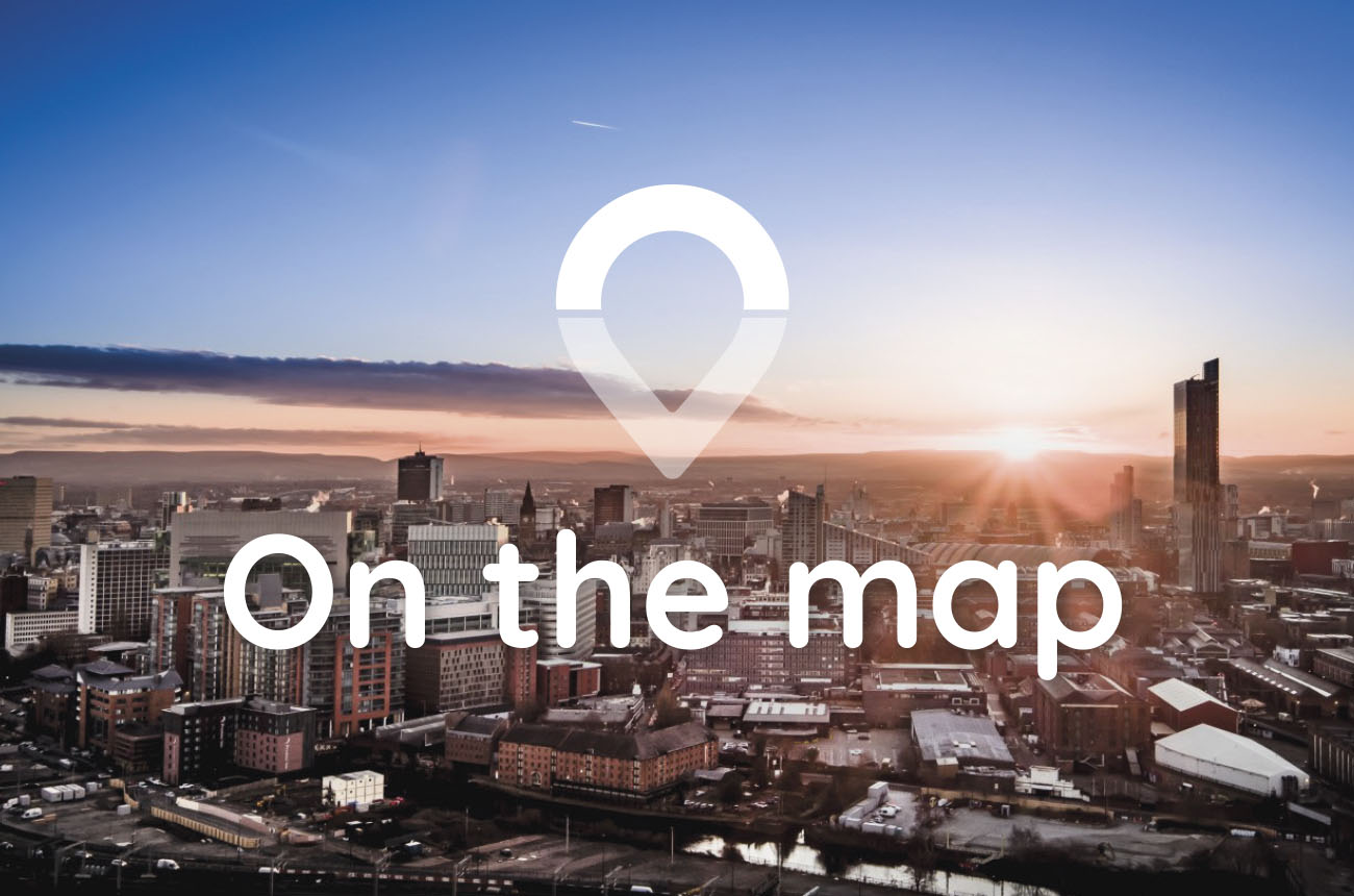 The Manchester skyline and the Onward Homes logo
