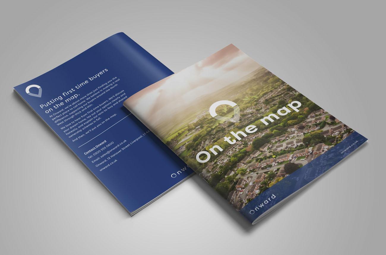 A photo of the Onward Homes printed brochure