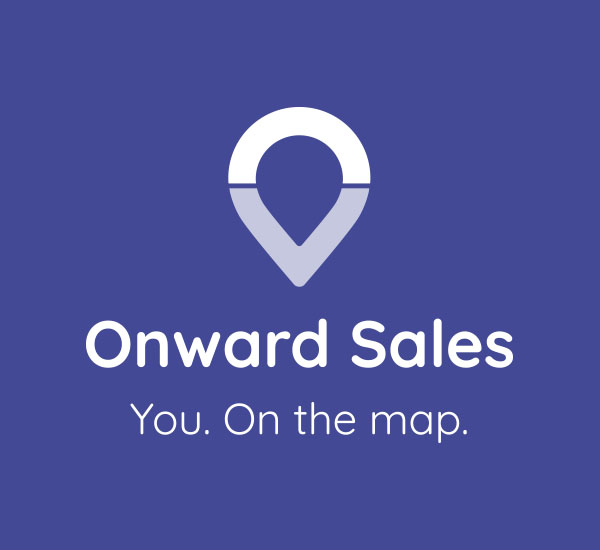 Onward Homes Sales logo on a blue background