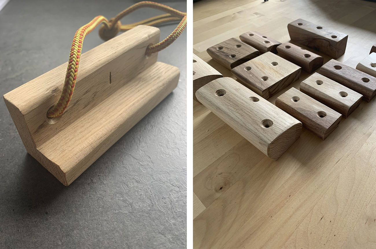 Wooden Climbing Training aid and wooden climbing holds