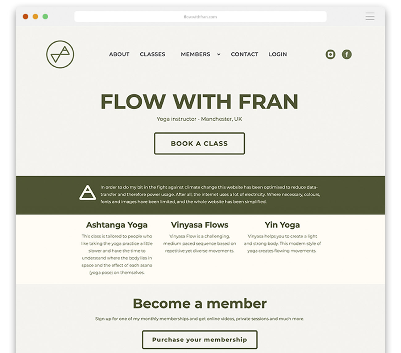 A screenshot of the Flow With Fran website design