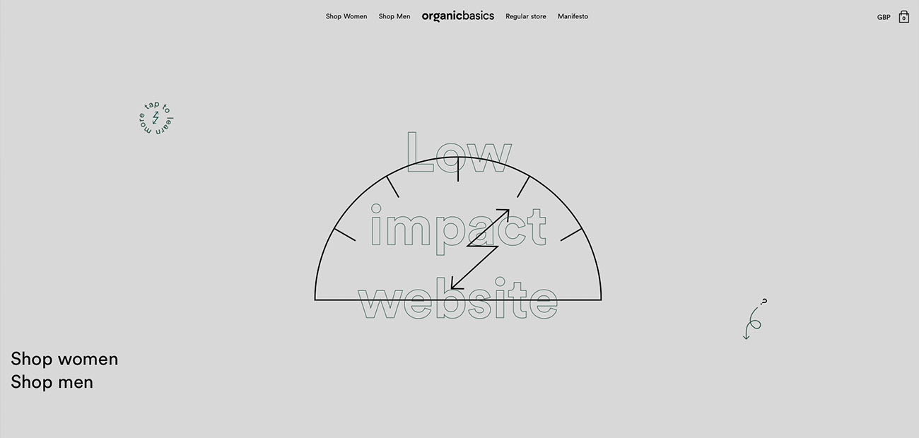 The Organic Basics Low ImpactWebsite screenshot