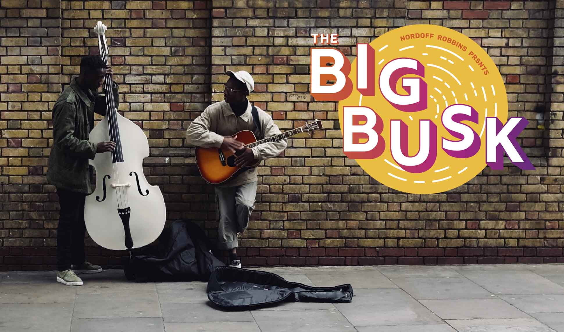 The Big Busk branding with two musicians busking on the street