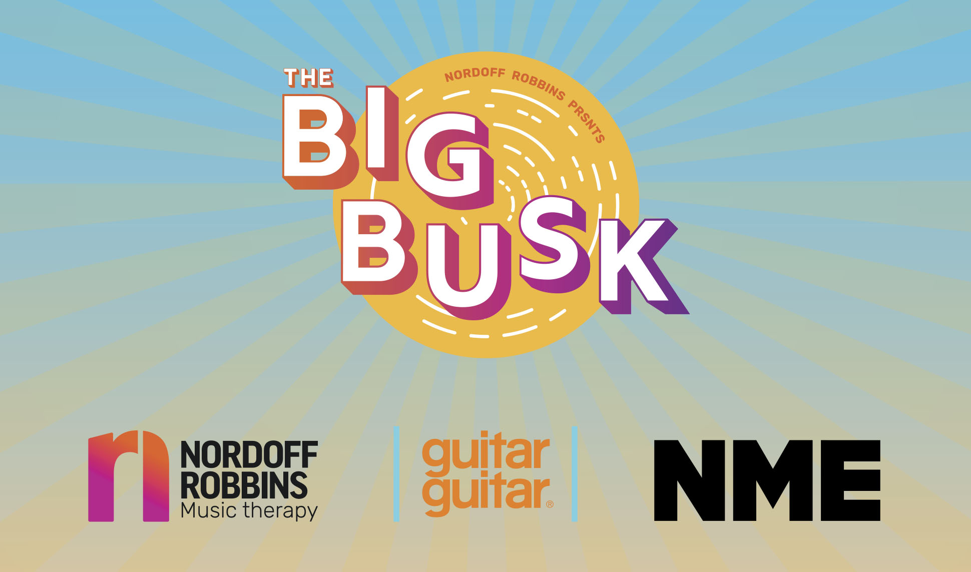 The Big Busk main branding. A logo and Nordoff Robbins logo, NME logo and Guitar Guitar logo