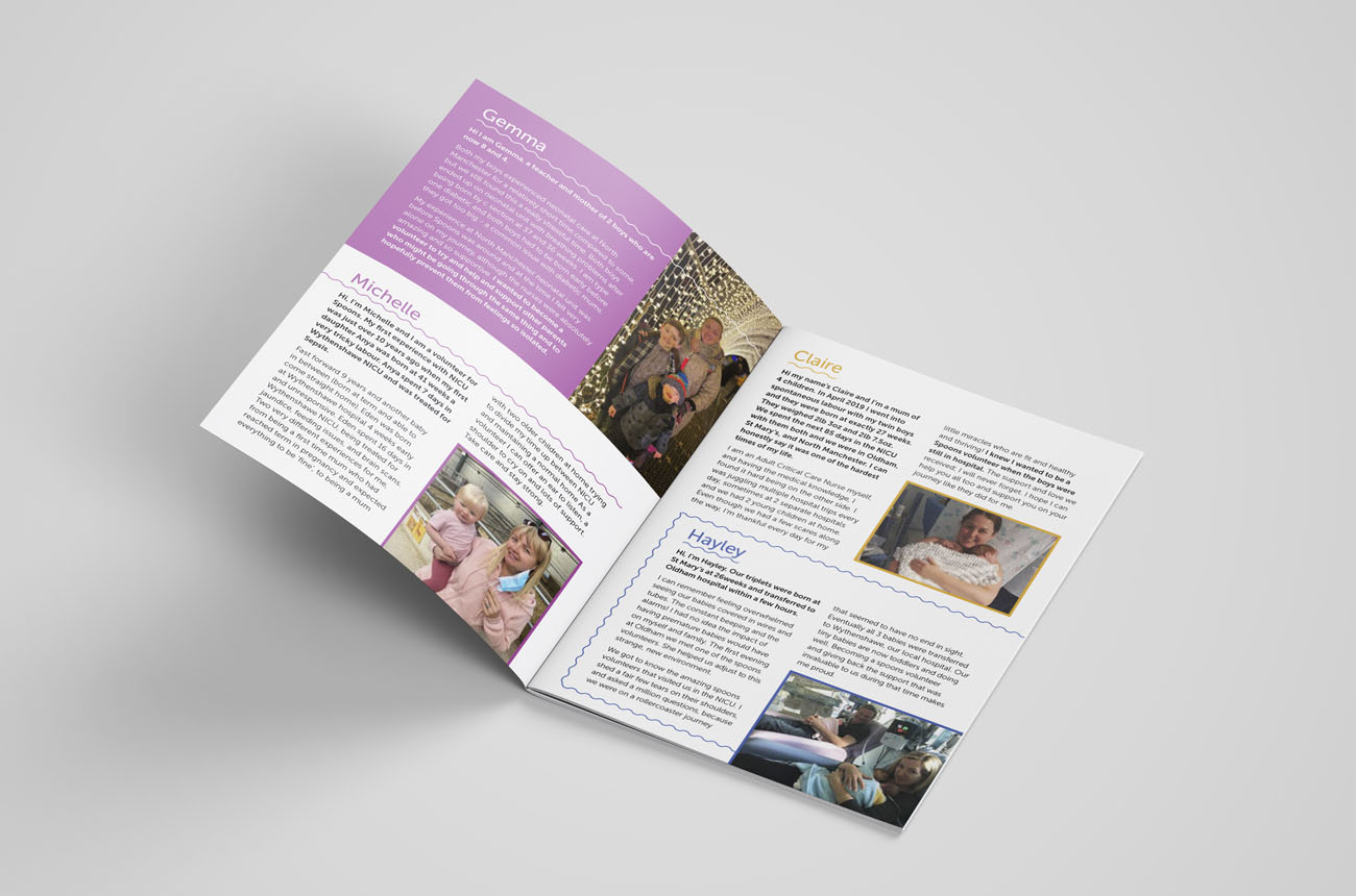 The inside spread example of Spoons Charity Service printed designed leaflets