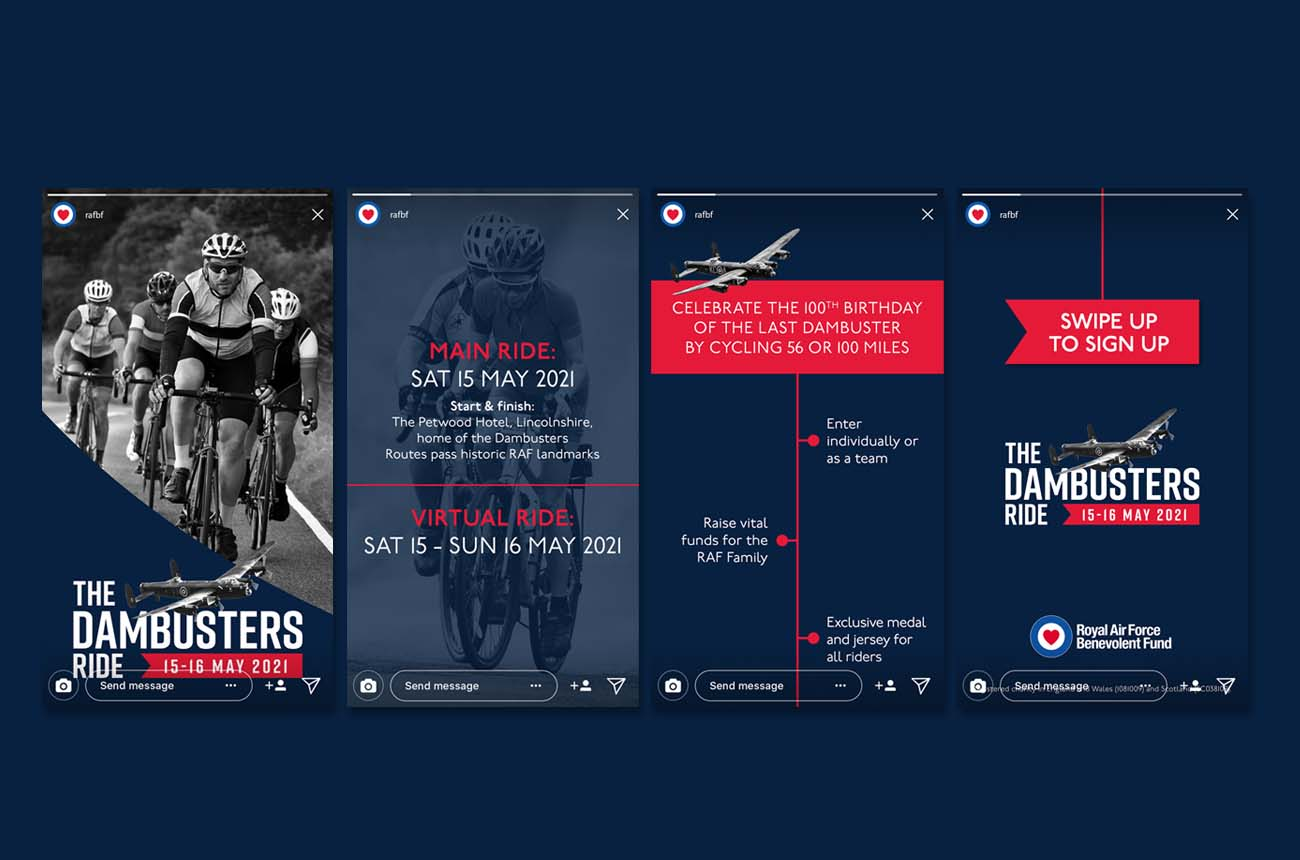 Instagram stories images for the Dambusters Charity Bike Ride