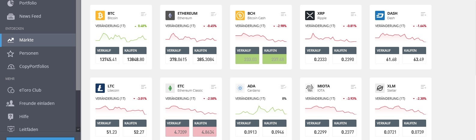 eToro markets various crypto currencies