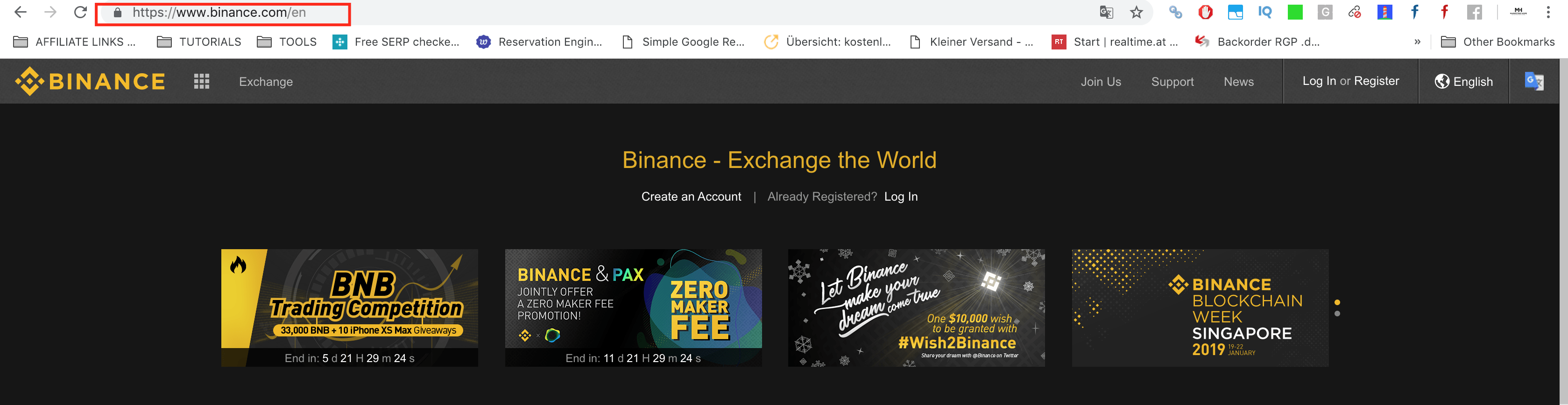 Binance screenshot-website