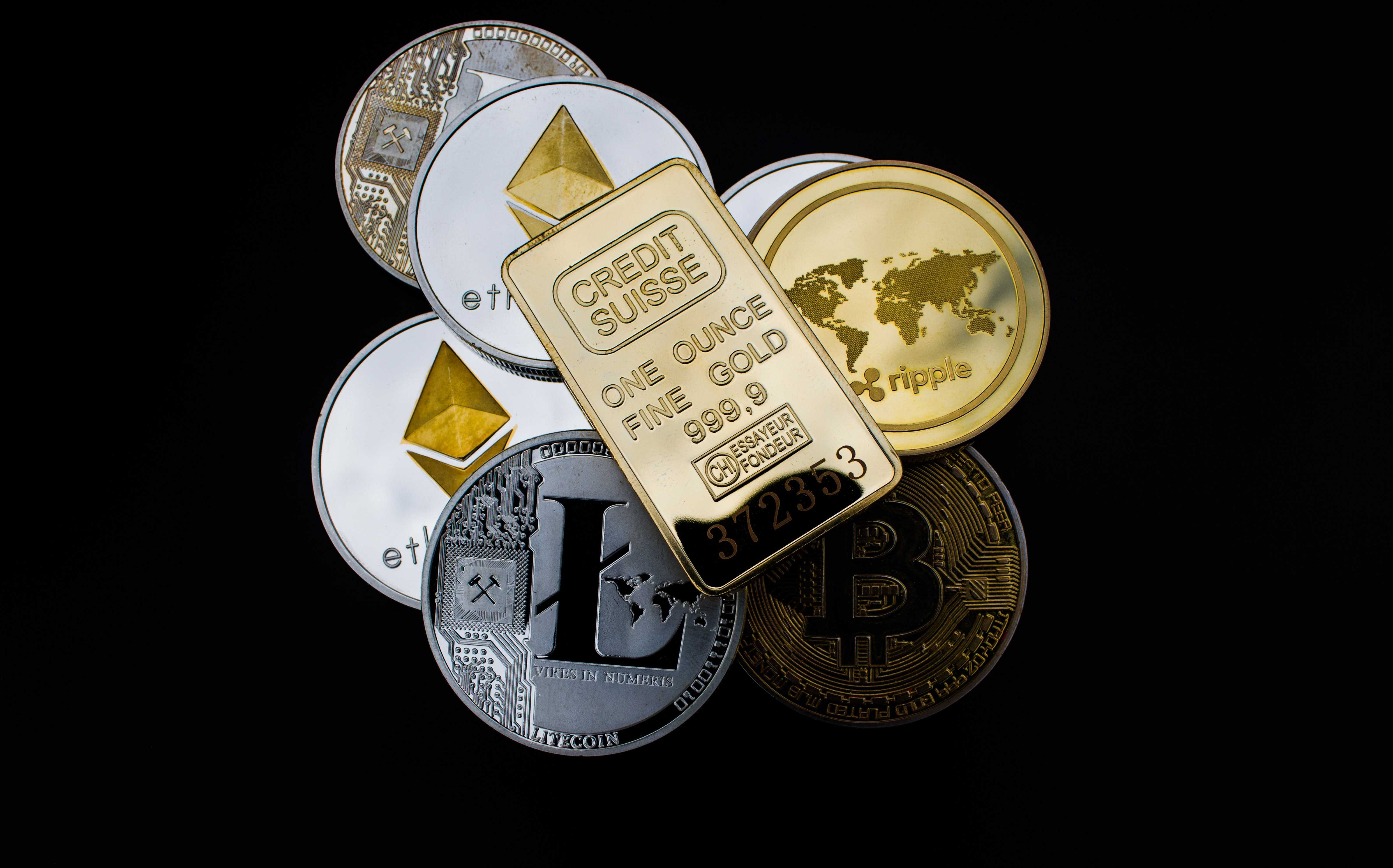 Various crypto coins and gold