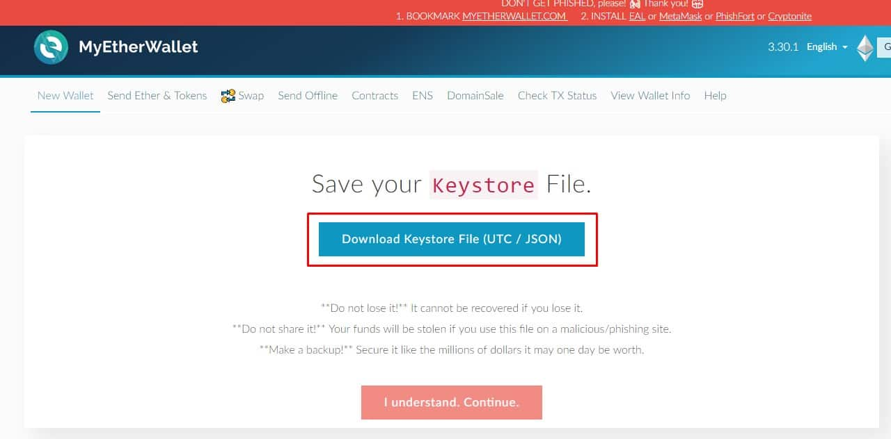 The button to download the keystore file on the myetherwallet.com website.