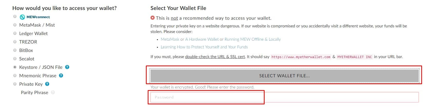 Select a wallet file