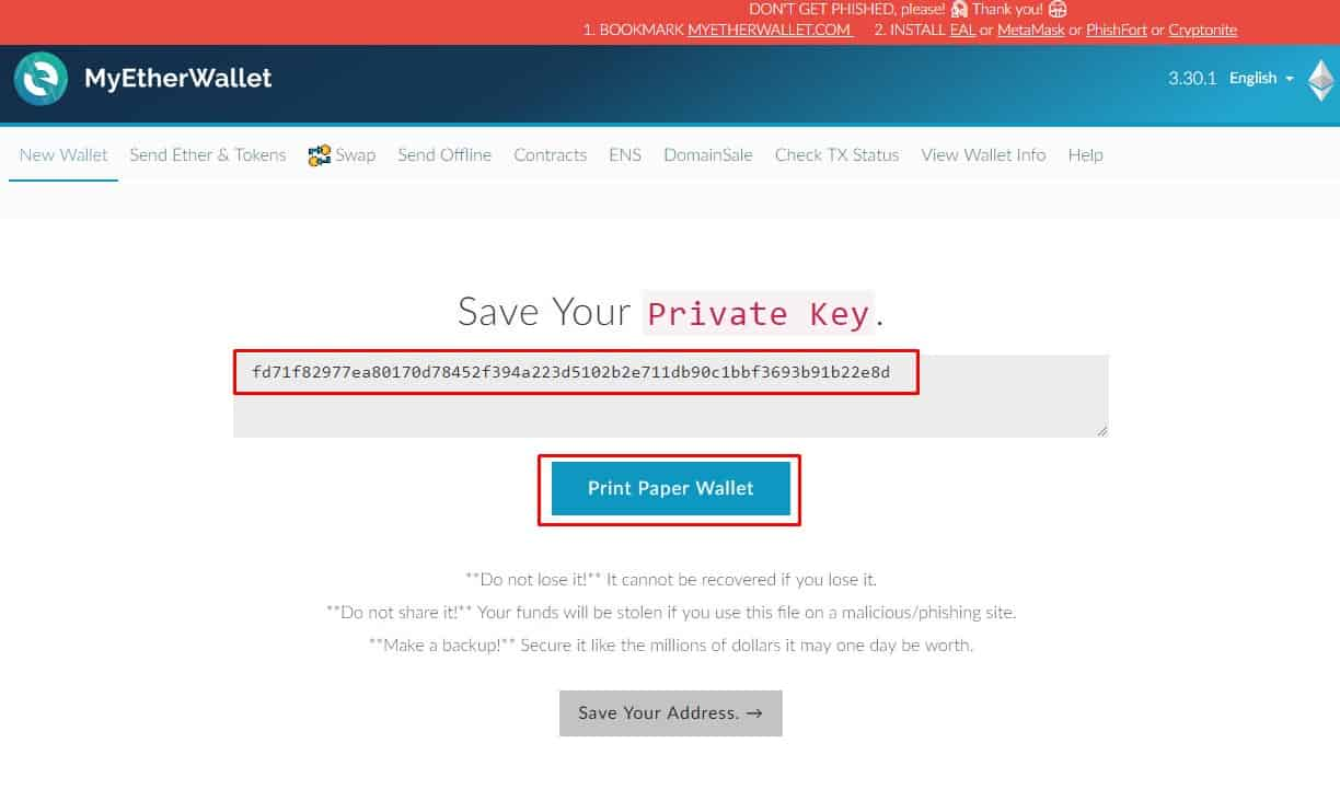 Save your private key