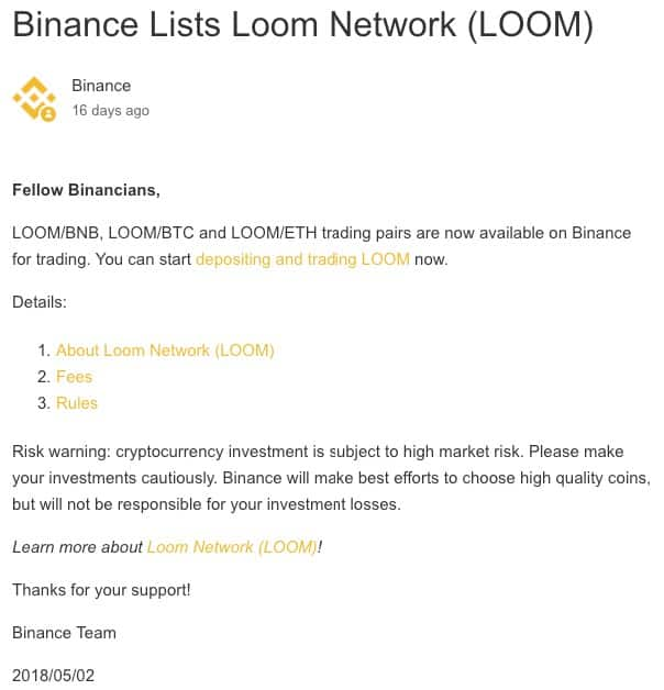 Список Binance LOOM