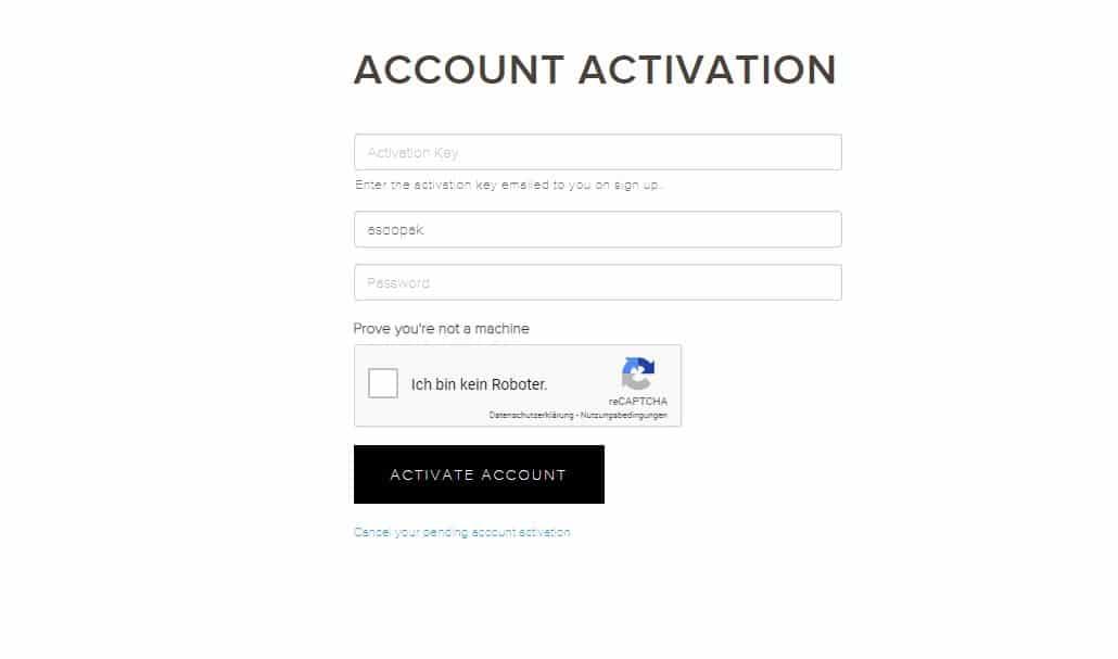 Activation du compte