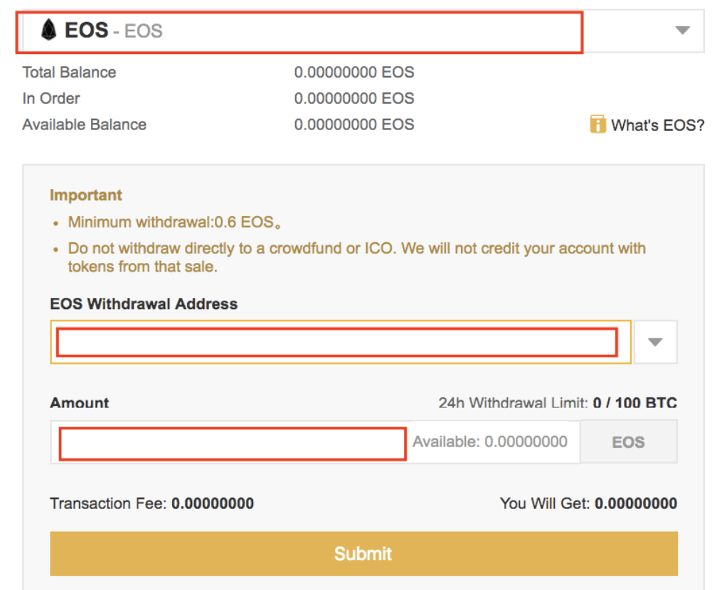 EOS Withdrawal address
