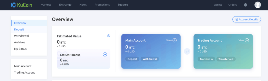 KuCoin Dashboard