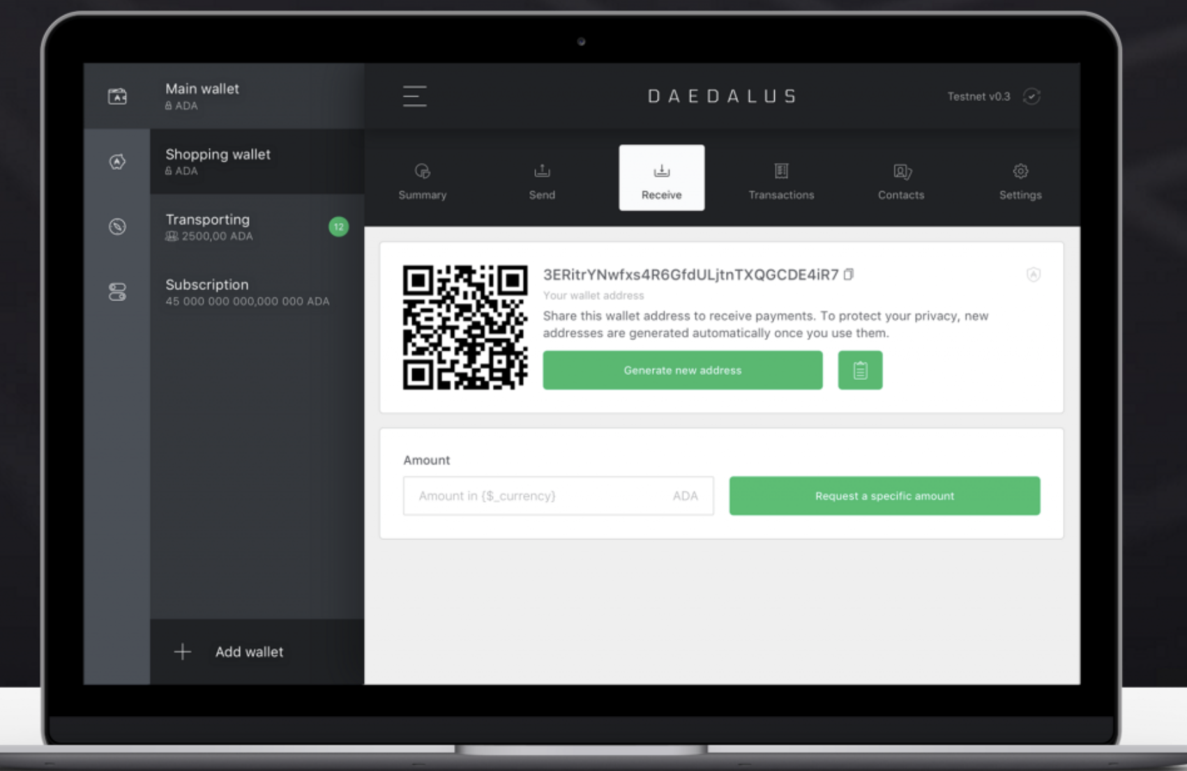 Daedalus deposits and withdrawals
