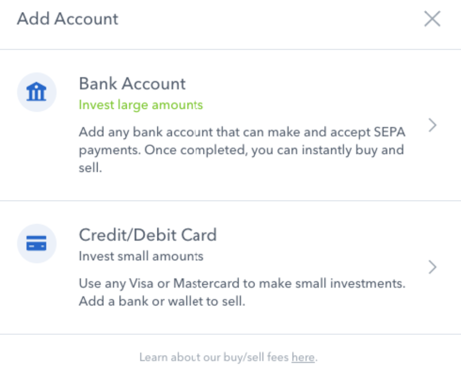 Add account to Coinbase