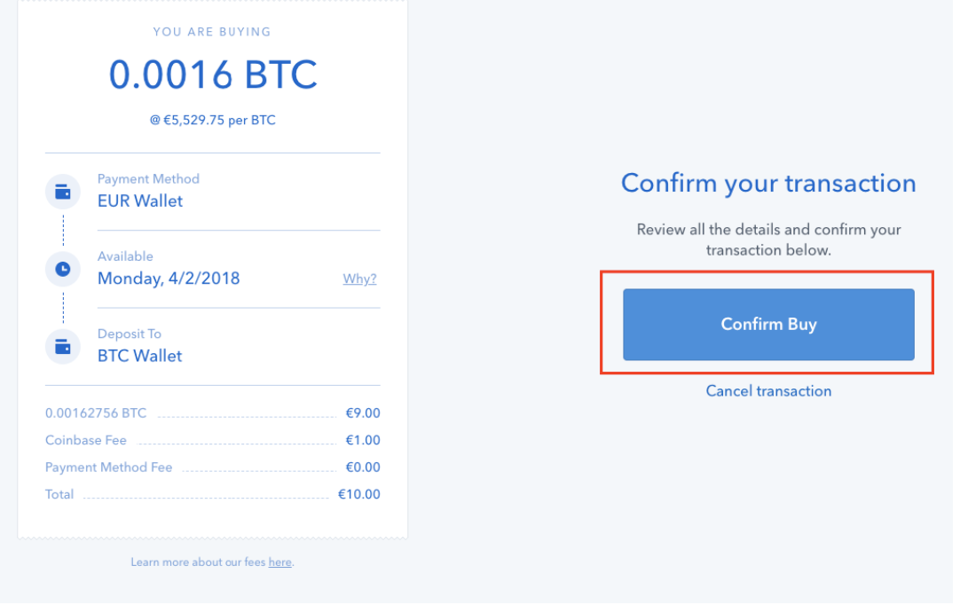 Confirm Coinbase purchase