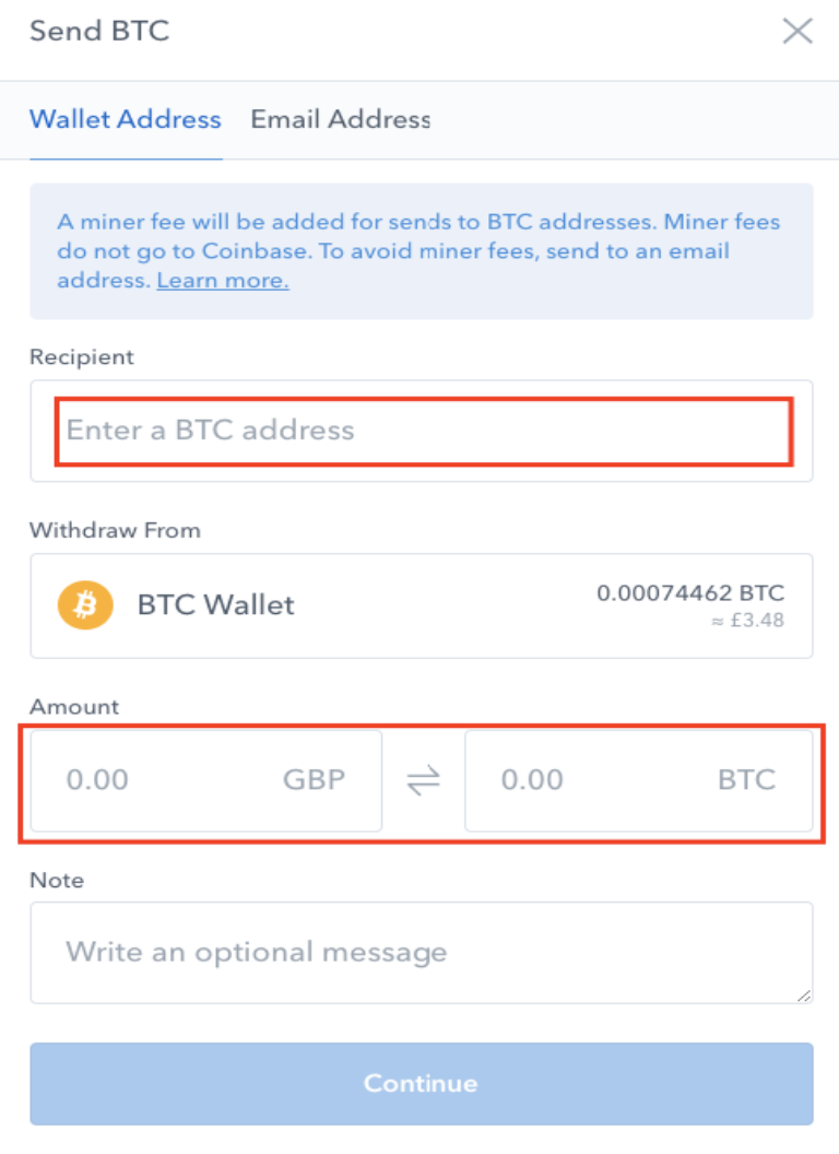 Enter the Coinbase recipient address