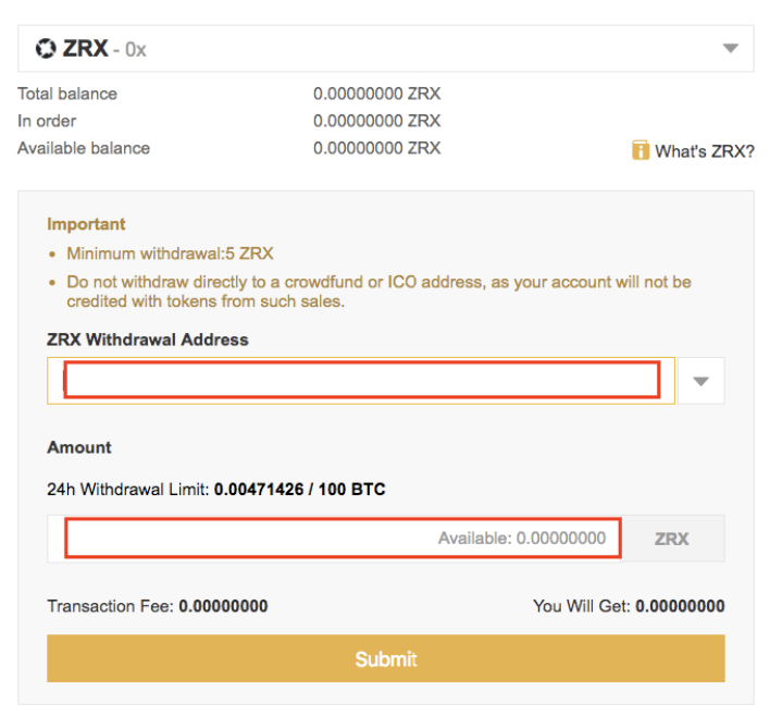 Binance ZRX Payout
