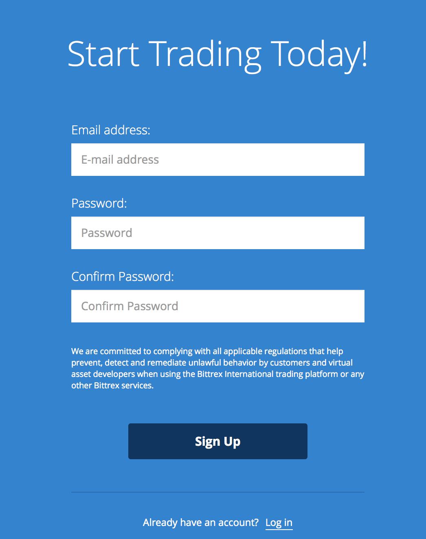 Registreringsdata för Bittrex