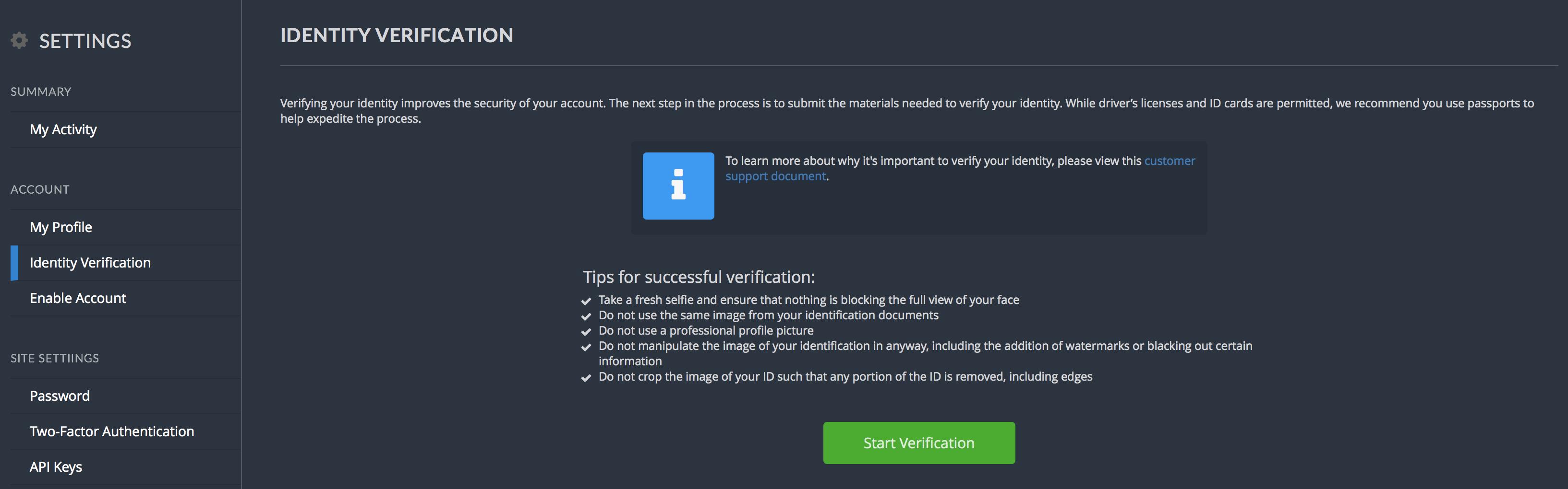 Bittrex Verifizierung der Identität