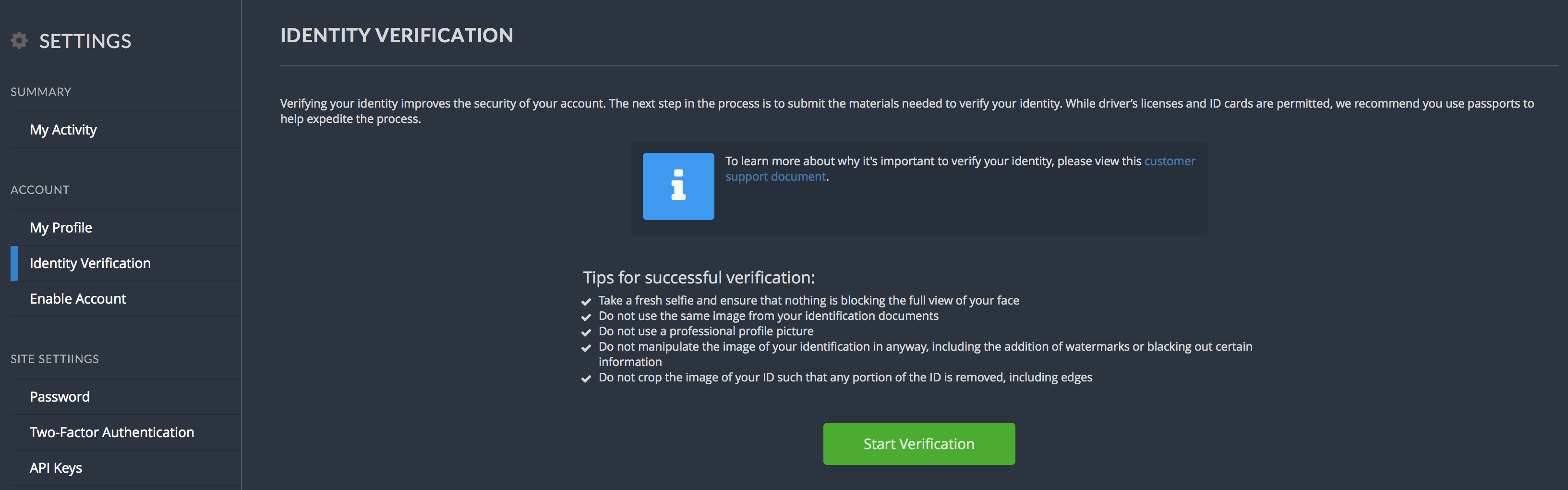 Bittrex-verifiering av identitet