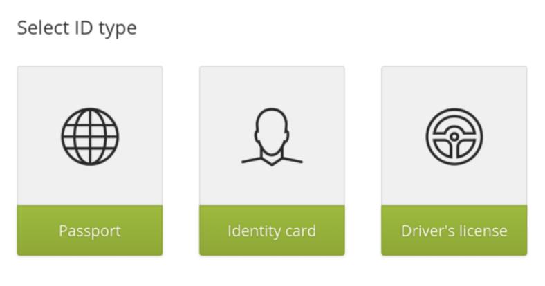 Välj typ av verifiering av Bittrex