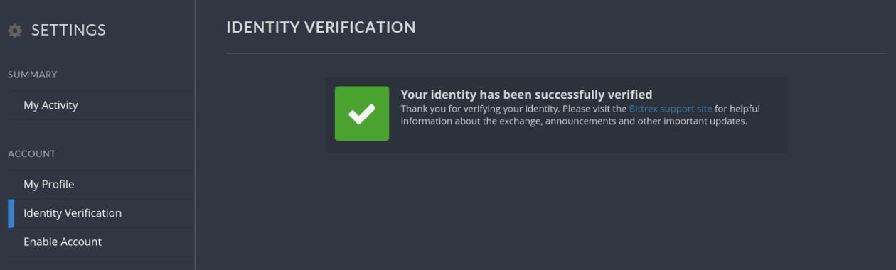 Bittrex Verifizierung erfolgreich