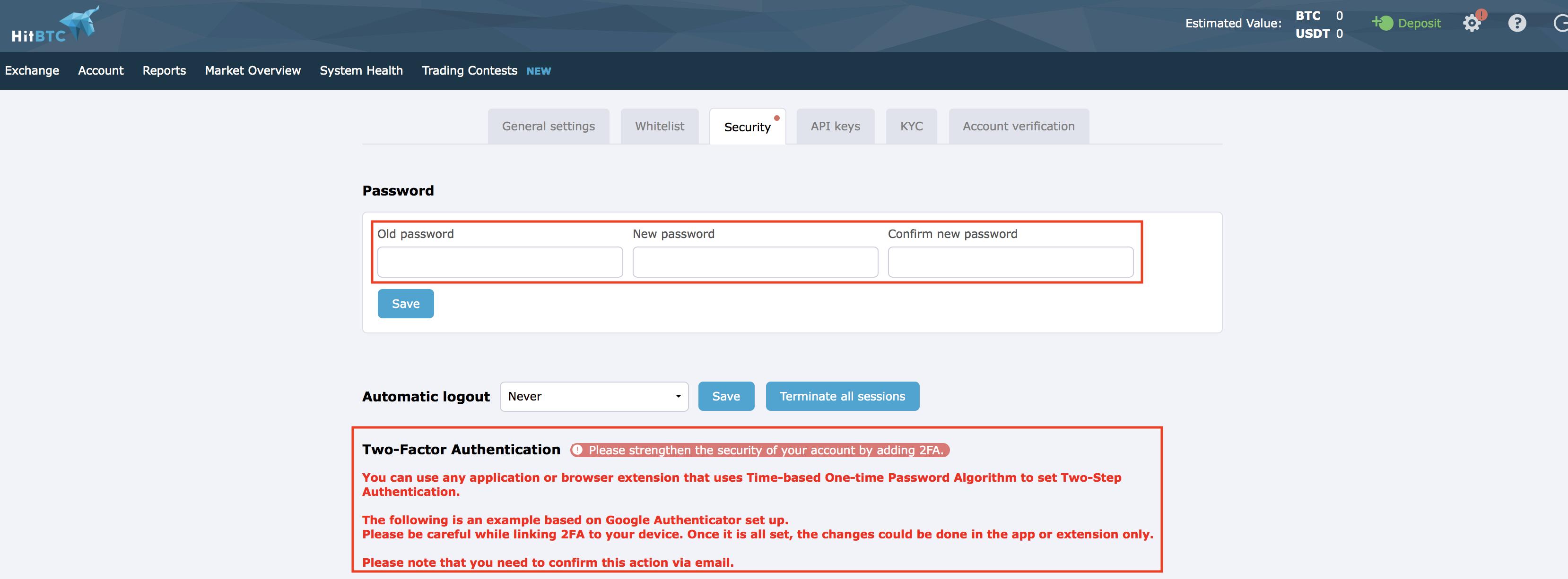 HitBTC 2 factor authentication
