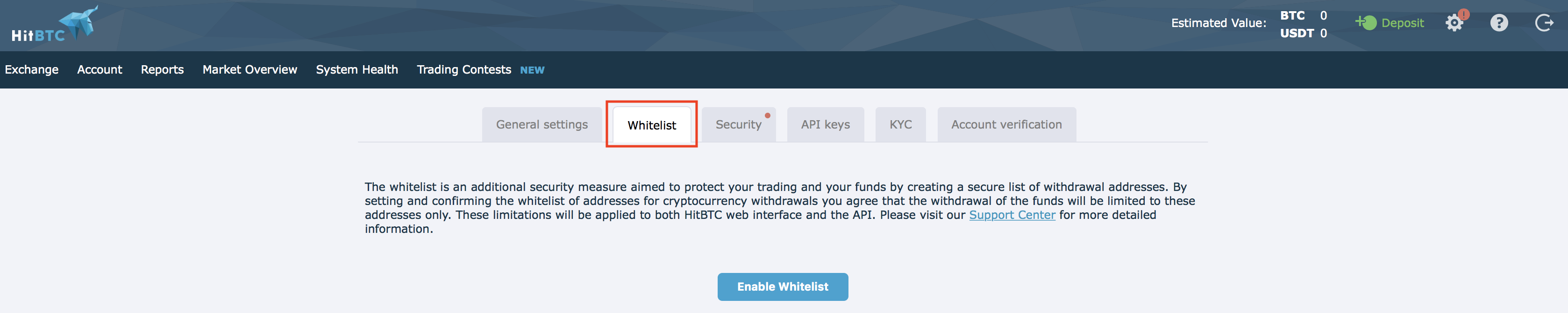 HitBTC whitelisting