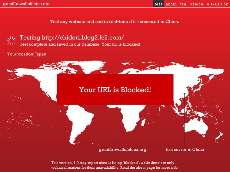 URL de la Chine bloquée