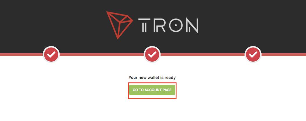 TRON Neues Wallet eingerichtet