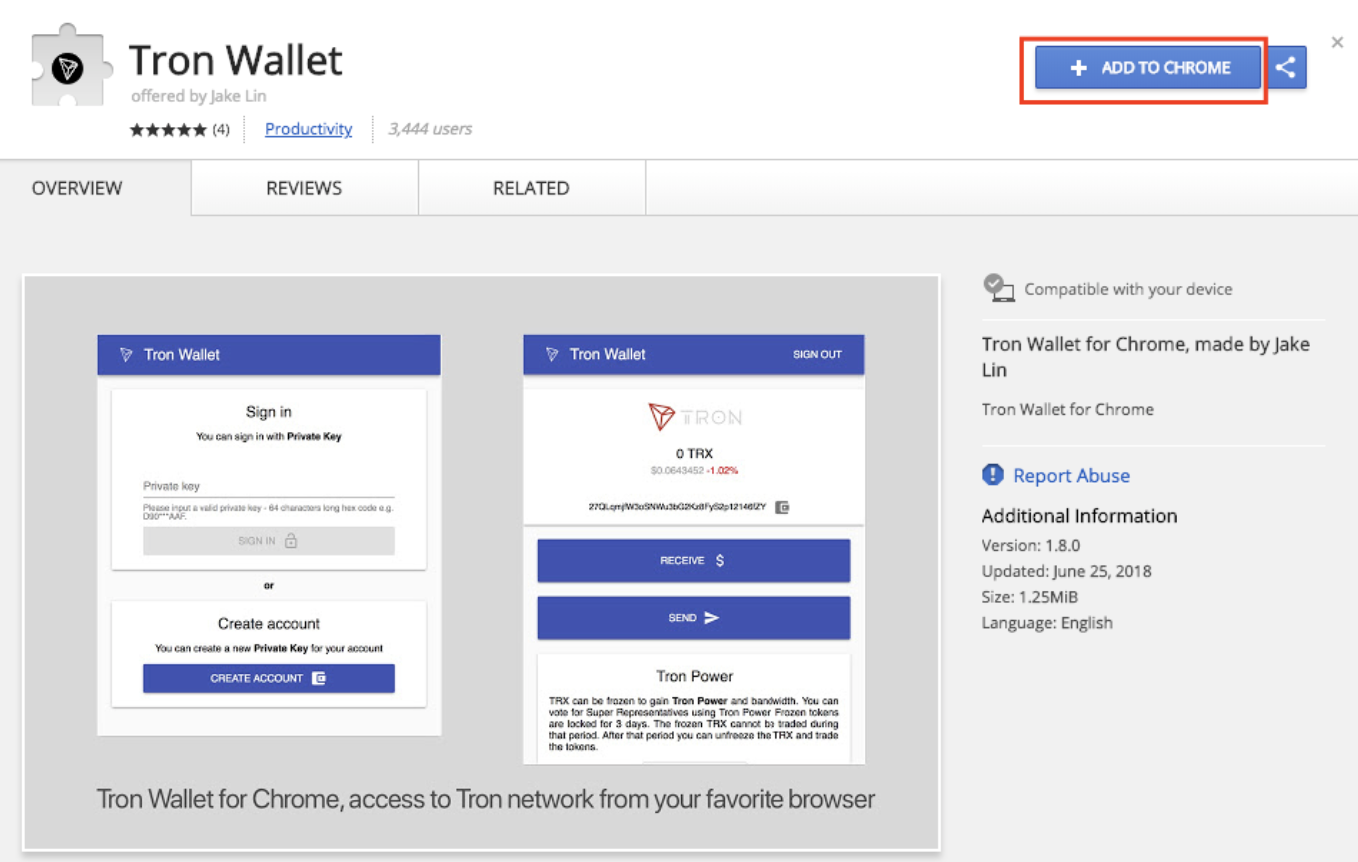 Extension TRON Wallet pour Google Chrome
