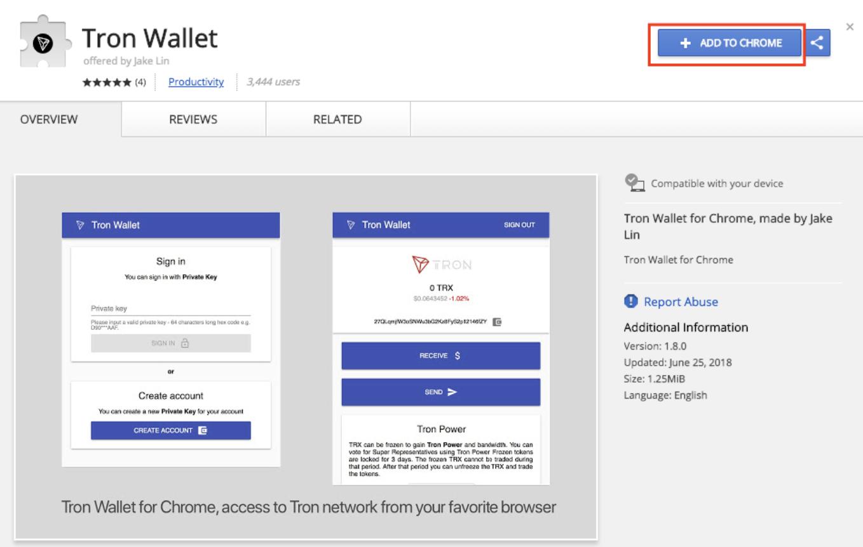 TRON Wallet Google Chrome Erweiterung