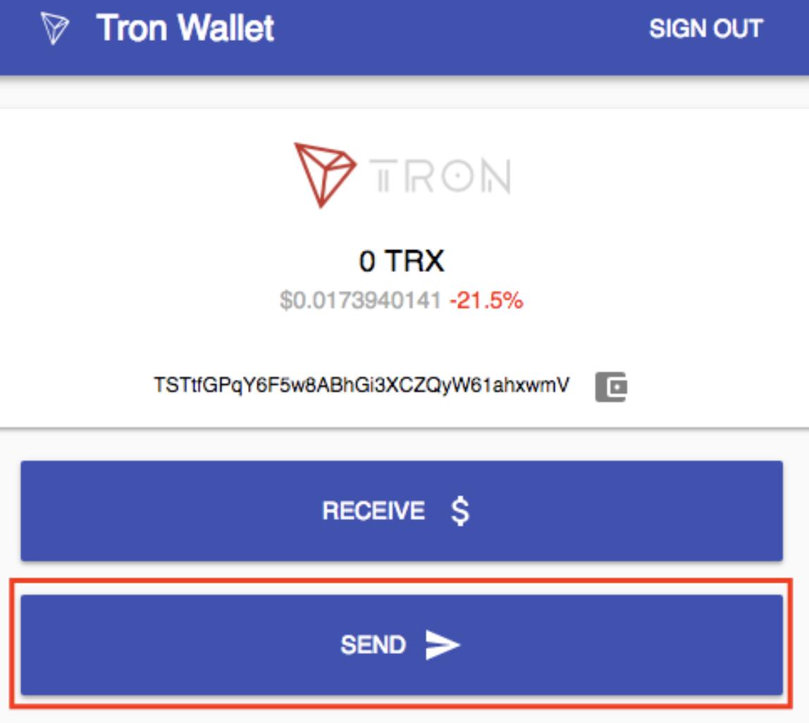 TRON Wallet Senden