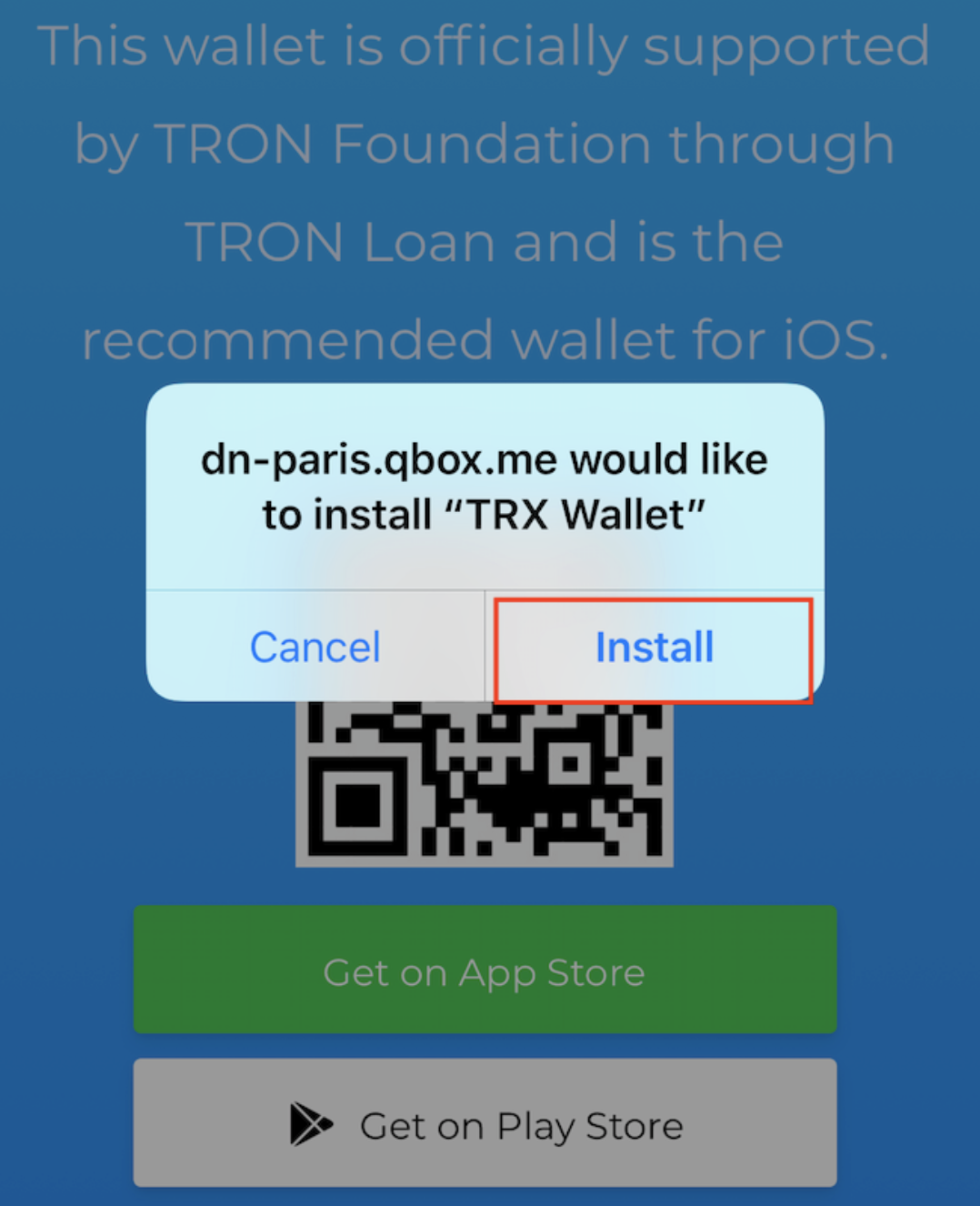Installation de l'application iOS TRON