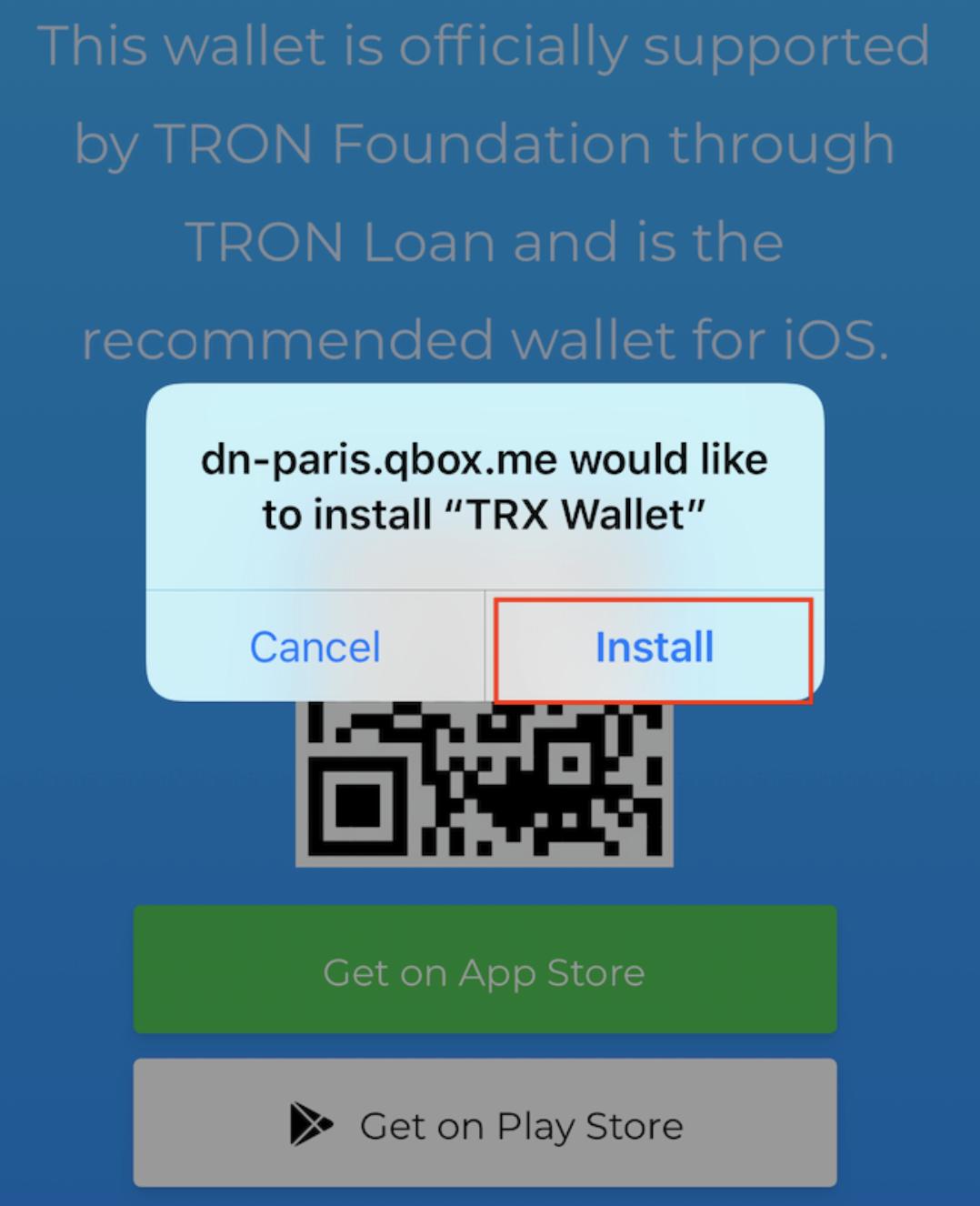iOS App TRON Install