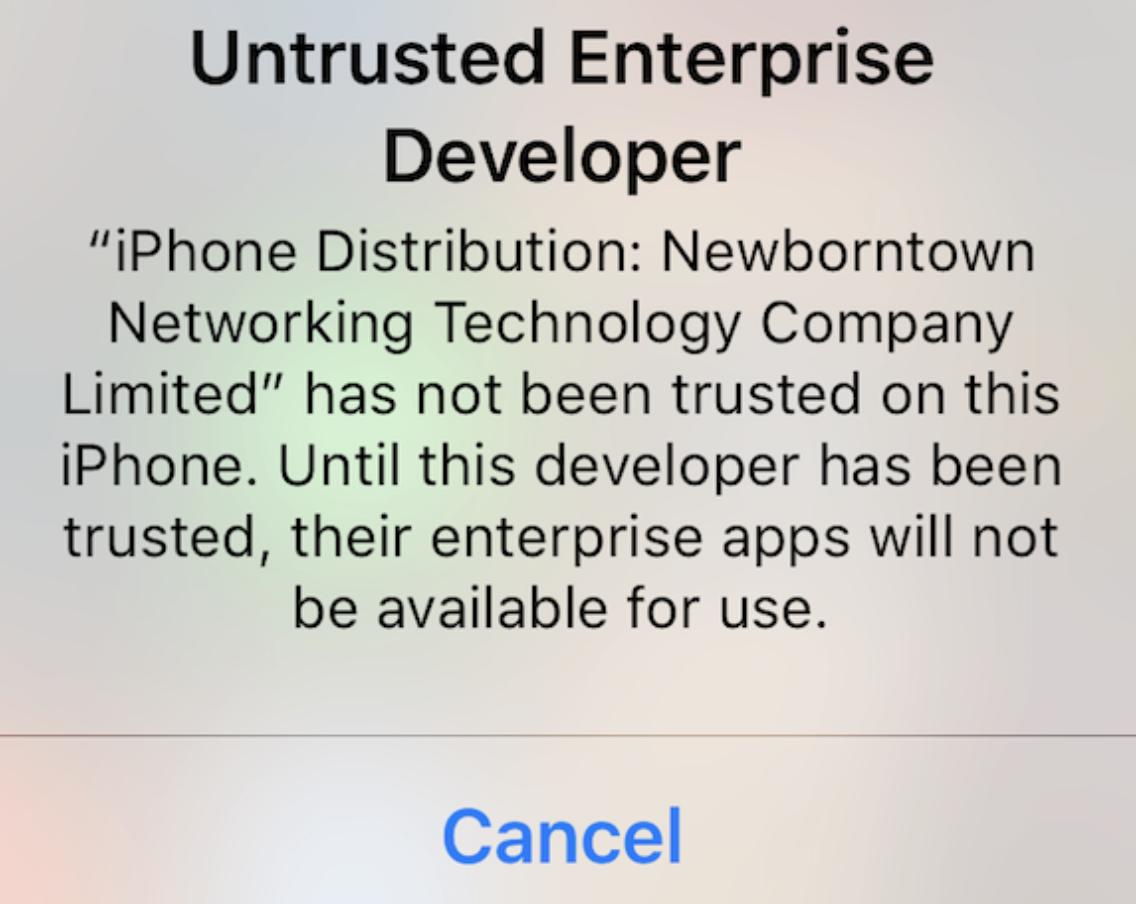 iOS TRON Sicherheitswarnung