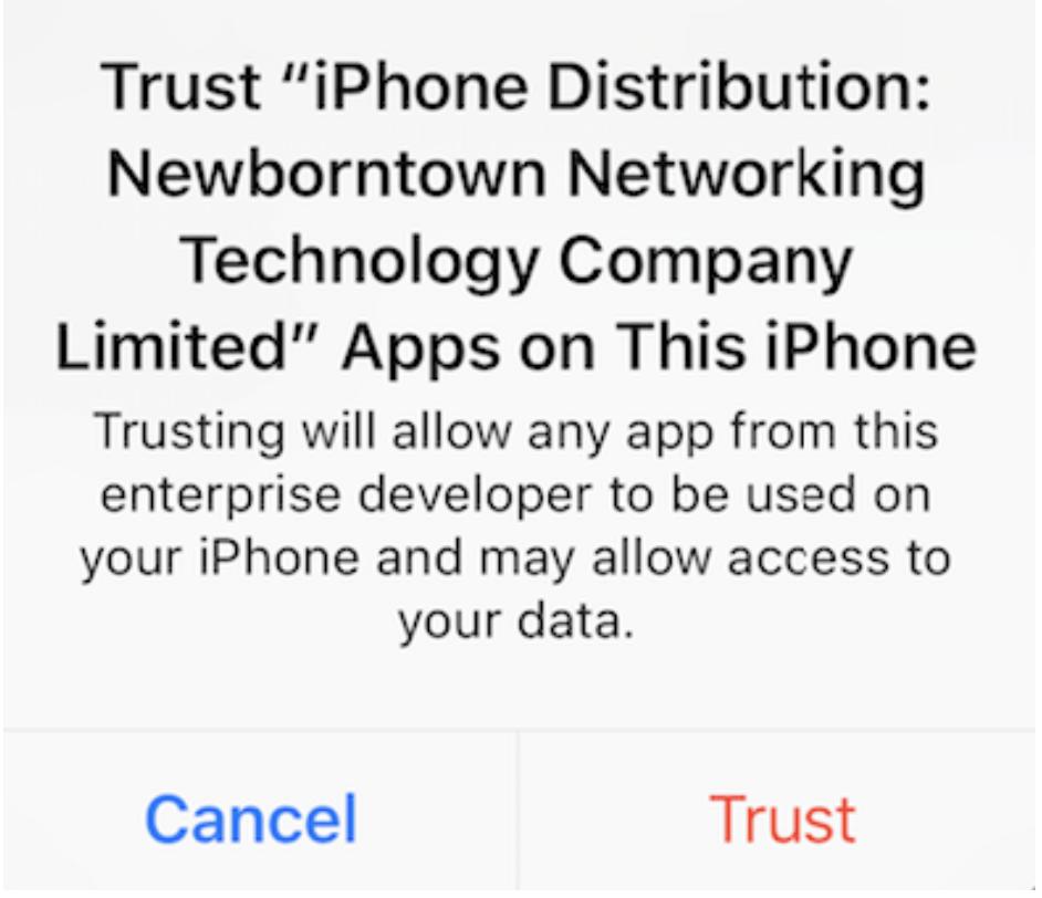 iOS TRON vertrauen Bestätigung