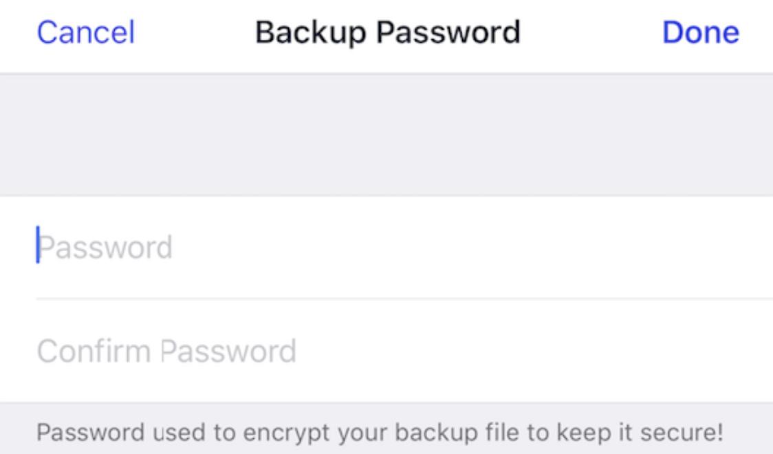 iOS App Backup Passwort einrichten