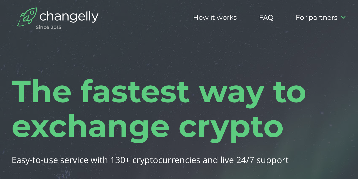 Sitio web de Changelly