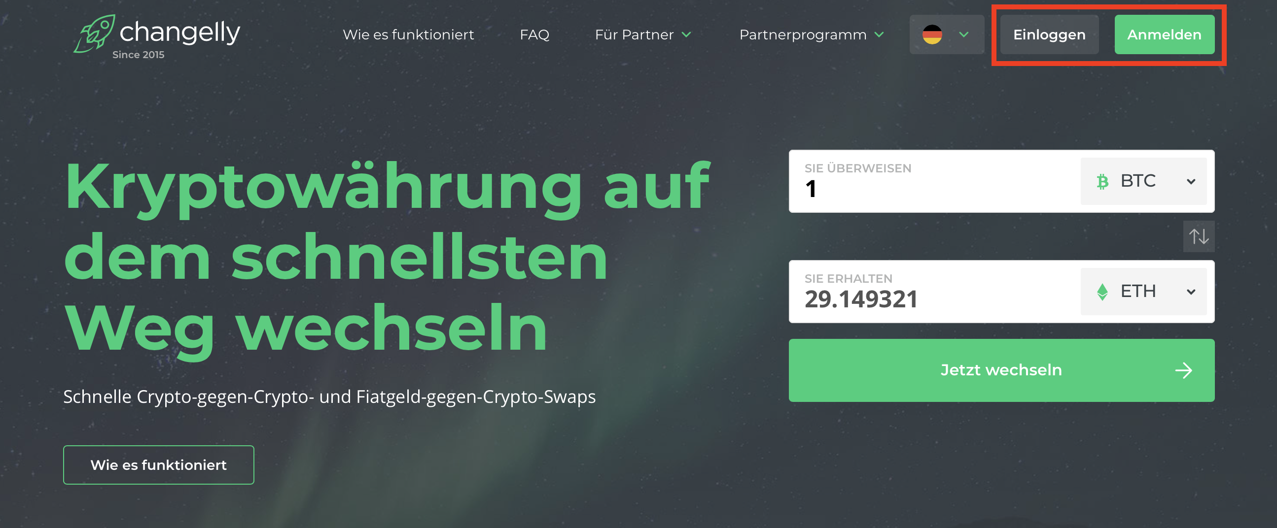 Changelly Login-Registrierung