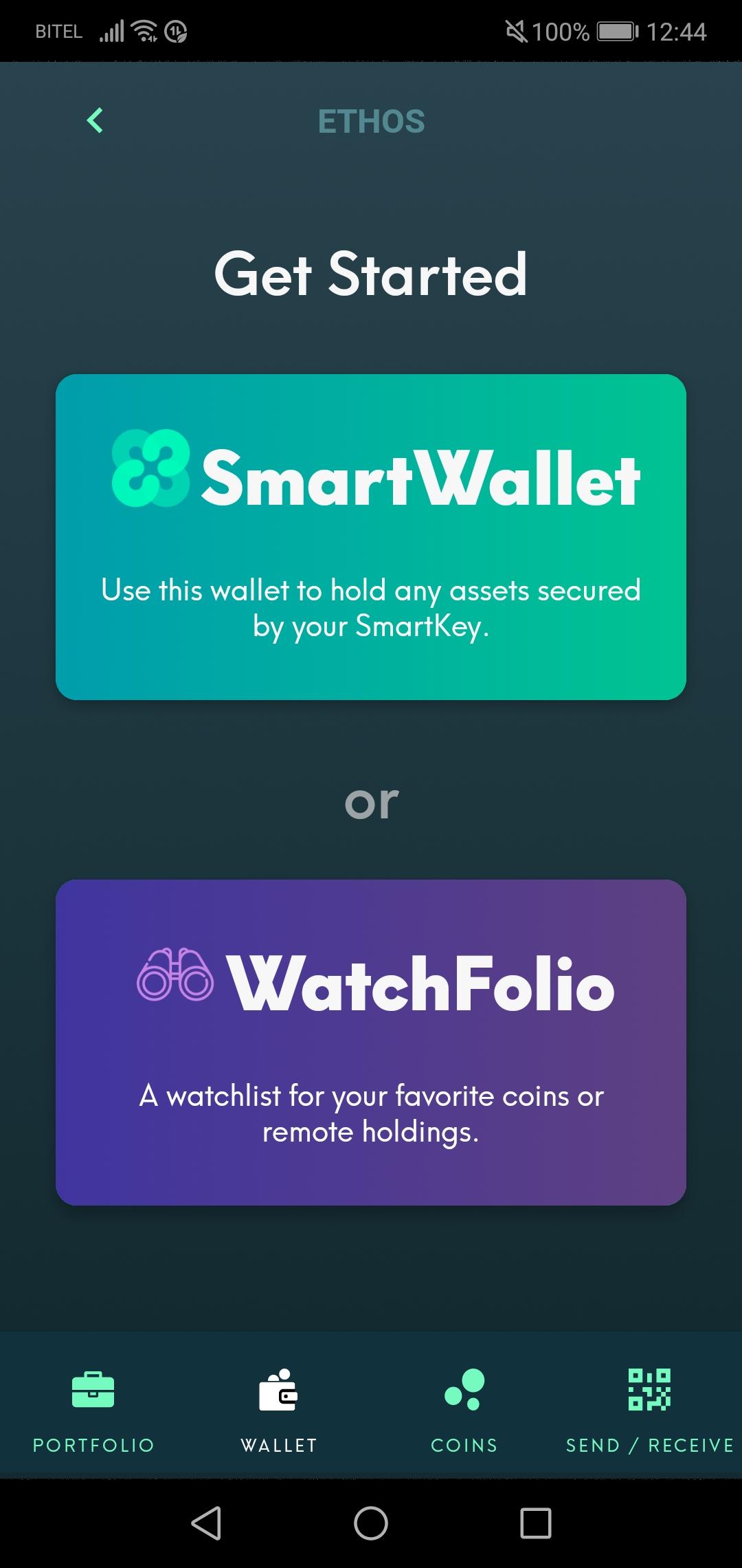 Ethos Neues Wallet hinzufügen
