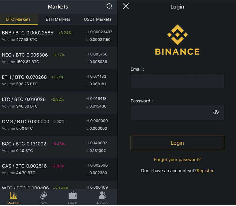 Binance iOS App Login