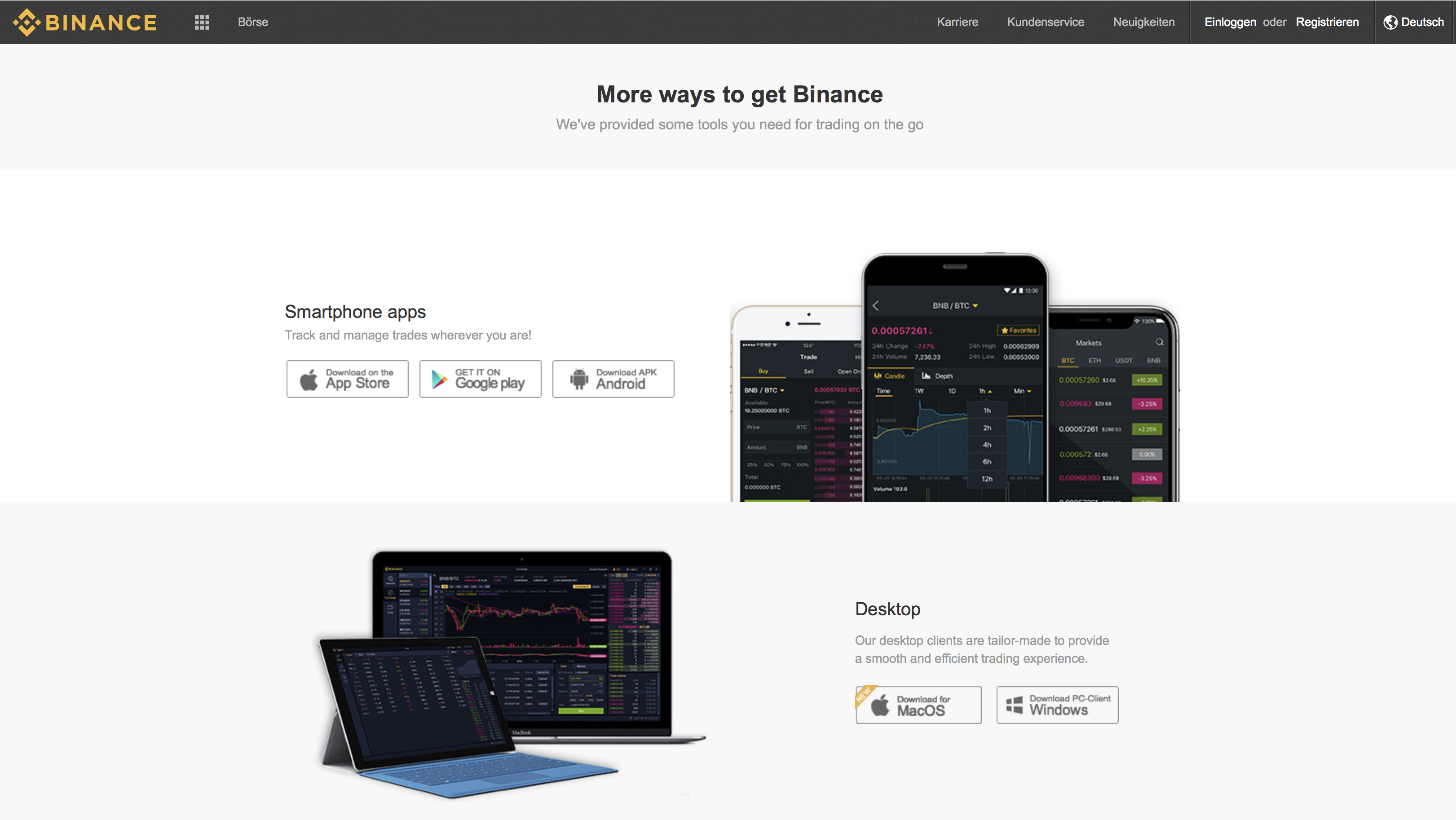 Binance apps overzicht