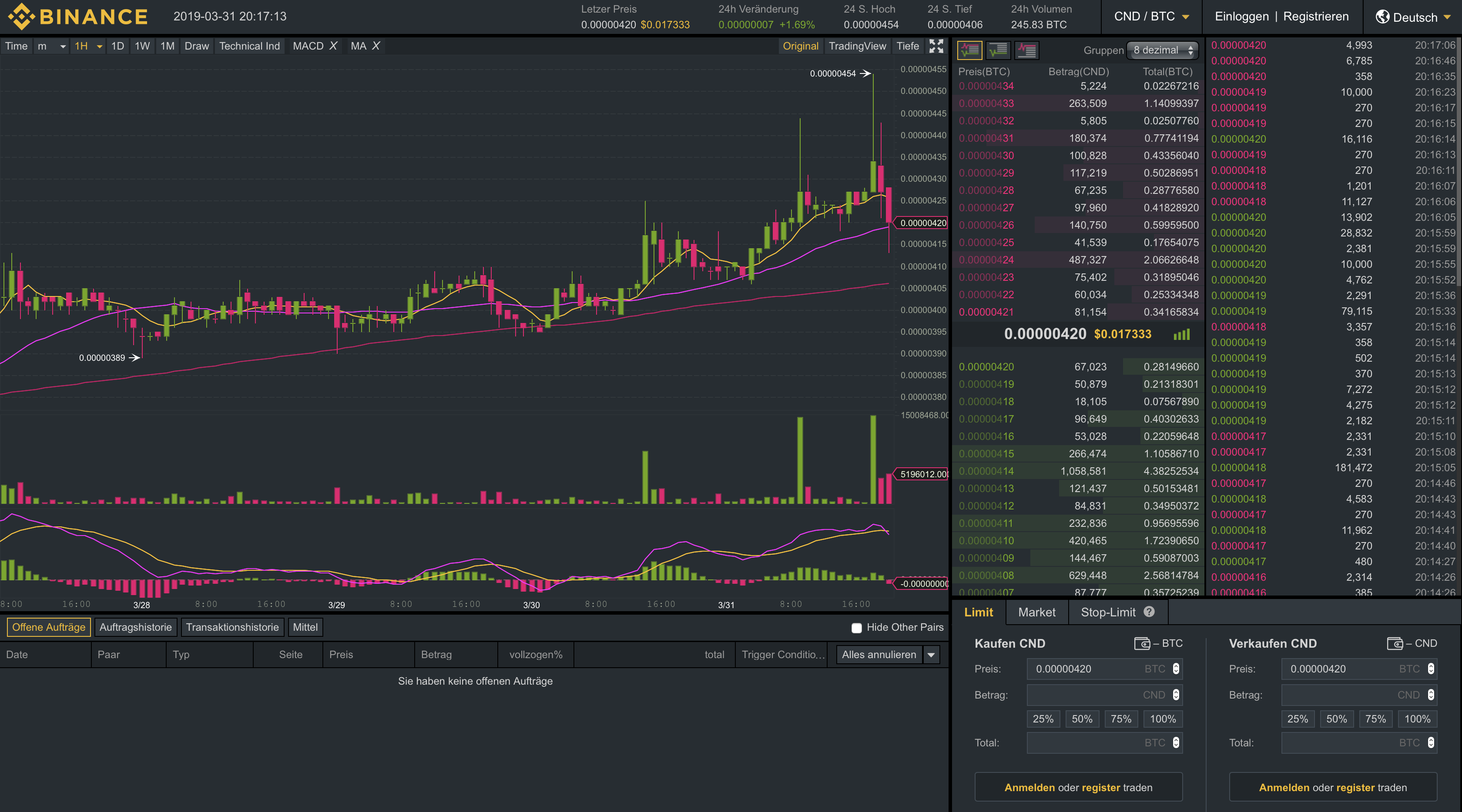 Binance desktop-interface donker