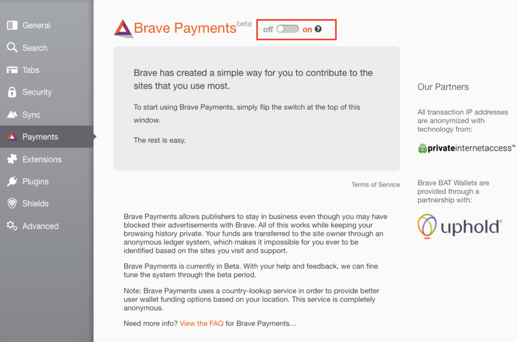 Brave Payments with BAT