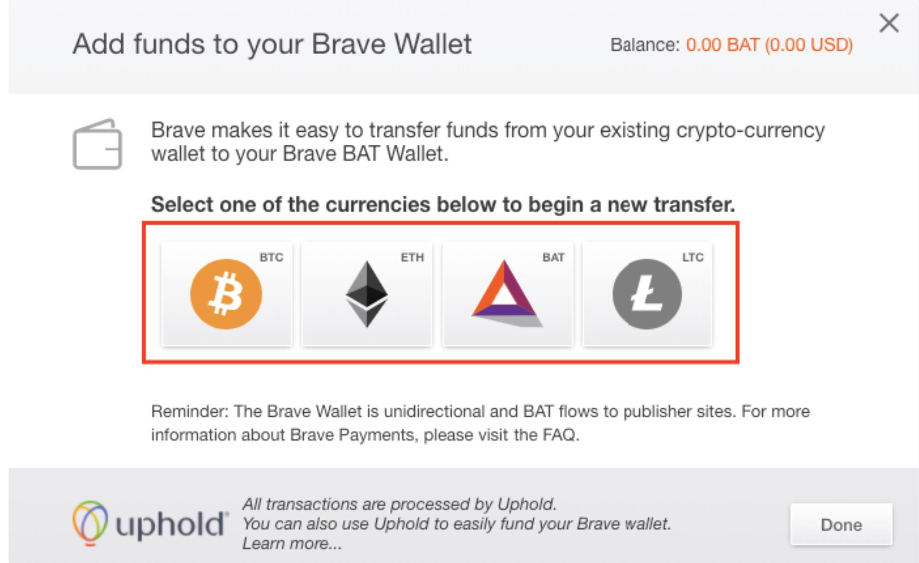 Brave Wallet Einzahlung